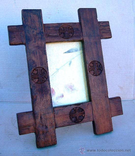 Marco rustico de fotos madera tallado cruz comprar Marcos de madera cuadros