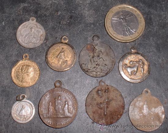 LOTE DE MEDALLAS RELIGIOSAS ANTIGUAS (Antigüedades - Religiosas - Medallas Antiguas)