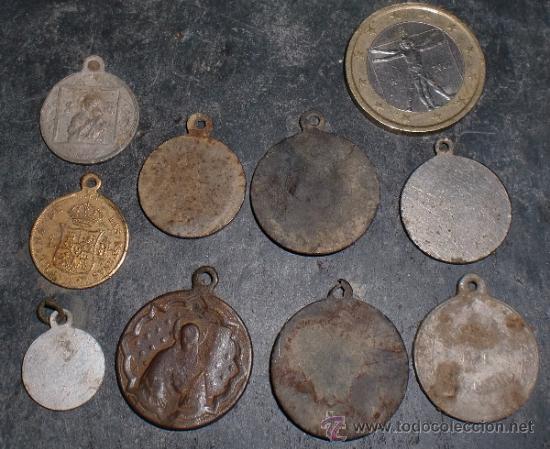 Antigüedades: Lote de medallas religiosas antiguas - Foto 2 - 91933784