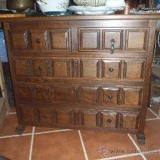 Antigüedades: MUEBLE CASTELLANO Y ESPEJO MADERA MACIZA.. Lote 132984521