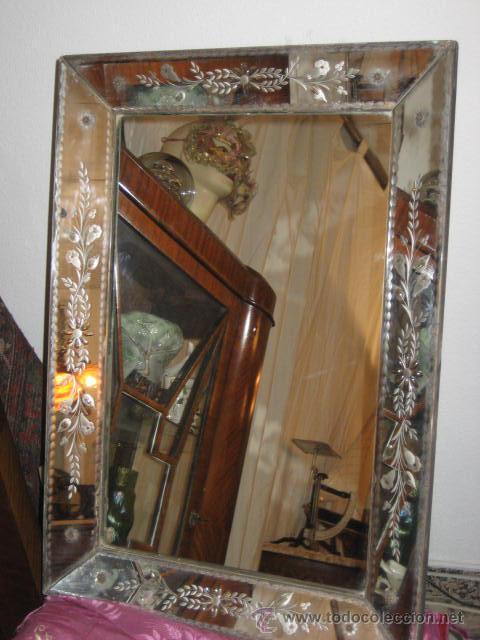 Antiguo y precioso espejo veneciano trabajado vendido - Espejo veneciano antiguo ...