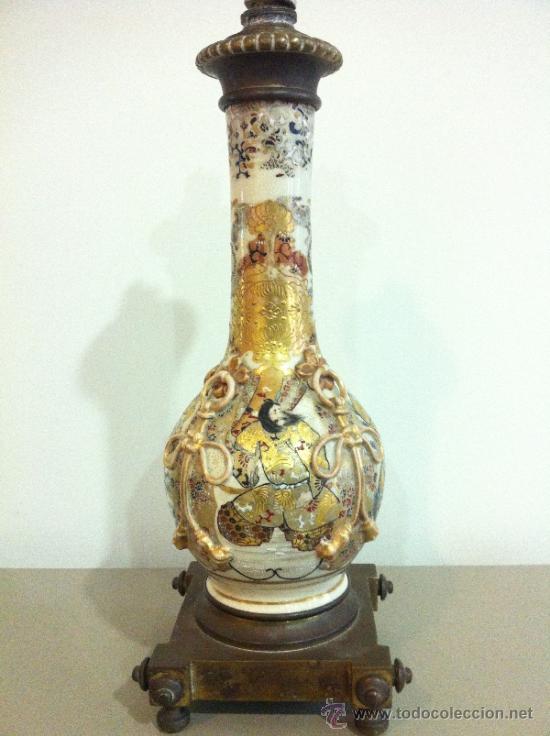 LAMPARA DE PORCELANA SATSUMA JAPONESA PRINCIPIOS SIGLO XX (Antigüedades - Iluminación - Lámparas Antiguas)