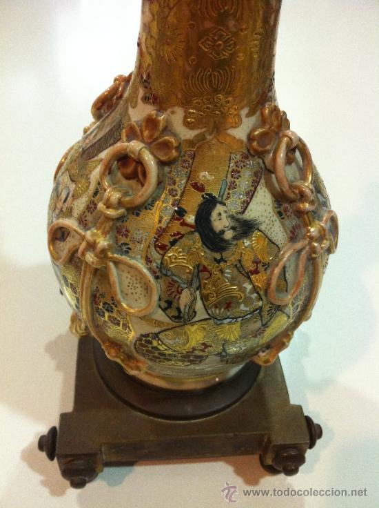 Antigüedades: lampara de porcelana satsuma japonesa principios siglo XX - Foto 5 - 34524378