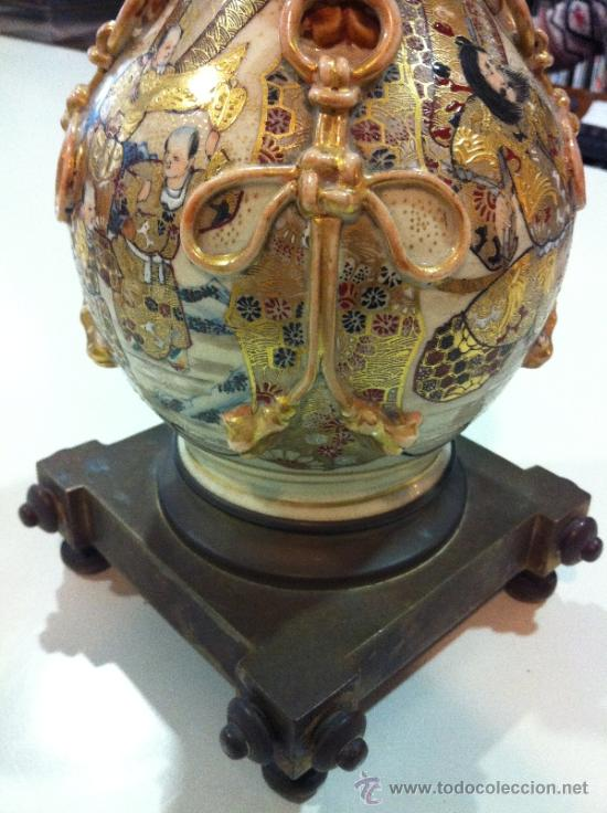 Antigüedades: lampara de porcelana satsuma japonesa principios siglo XX - Foto 6 - 34524378