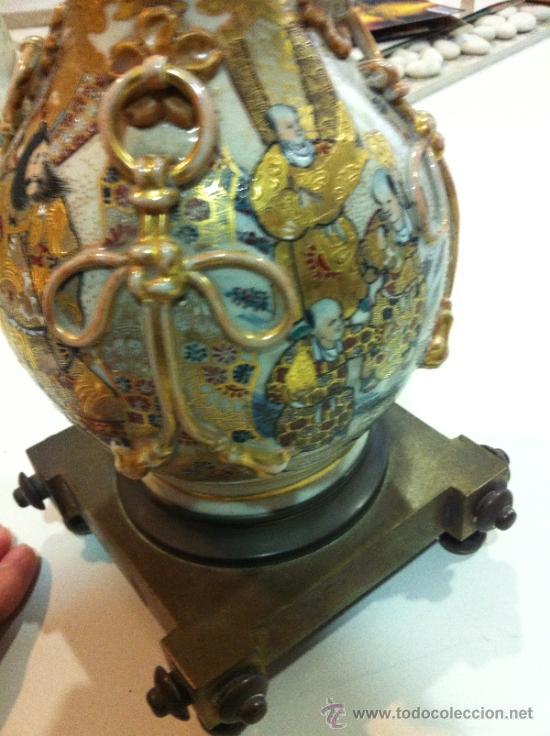 Antigüedades: lampara de porcelana satsuma japonesa principios siglo XX - Foto 3 - 34524378