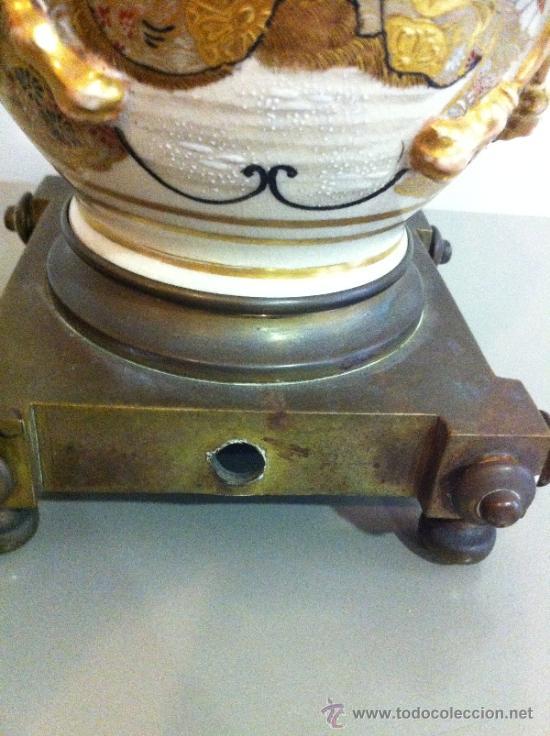 Antigüedades: lampara de porcelana satsuma japonesa principios siglo XX - Foto 2 - 34524378