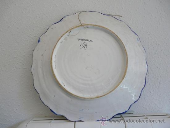 Antigüedades: ANTIGUO GRAN FUENTE CERAMICA DE TALAVERA - ESCUDO CON EL NOMBRE MARTINEZ-PEREZ - Foto 4 - 34543098