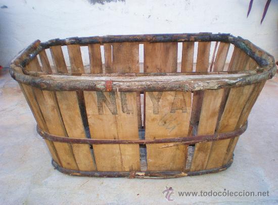 Antigua banasta caja o cesta de madera para rec comprar - Cestos de madera ...