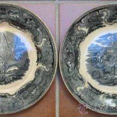 Antigüedades: PLATOS CERAMICA DE CARTAGENA. ESCENAS DE CAZA. . Lote 34553693