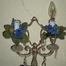 Antigüedades: CANDELABRO DE BRONCE Y CRISTAL. Lote 34560413
