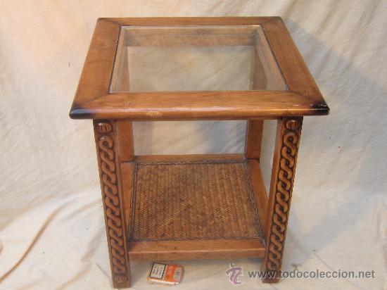 Mesa baja en madera tallada con cristal comprar mesas antiguas en todocoleccion 34565583 - Mesa baja cristal ...