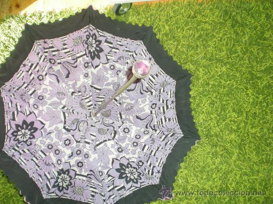 Antigüedades: antigua sombrilla de mujer años 30 40 lila forrada por dentro - Foto 6 - 34565554