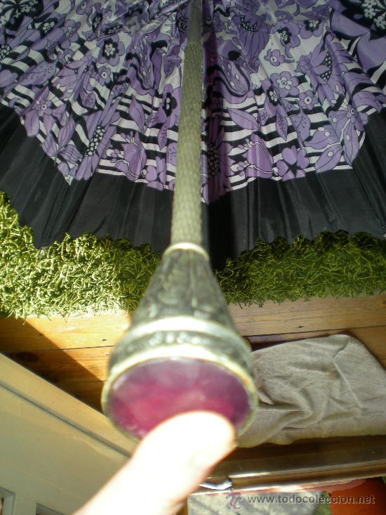 Antigüedades: antigua sombrilla de mujer años 30 40 lila forrada por dentro - Foto 8 - 34565554