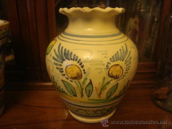Antigüedades: antiguo jarron ceramica pintado a mano, sevilla, 21 cm buena pieza - Foto 6 - 34572637