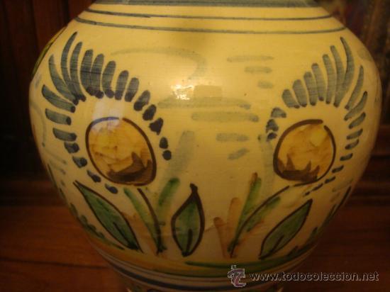 Antigüedades: antiguo jarron ceramica pintado a mano, sevilla, 21 cm buena pieza - Foto 4 - 34572637