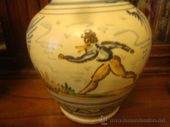Antigüedades: antiguo jarron ceramica pintado a mano, sevilla, 21 cm buena pieza - Foto 3 - 34572637