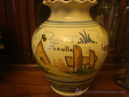 Antigüedades: antiguo jarron ceramica pintado a mano, sevilla, 21 cm buena pieza - Foto 2 - 34572637