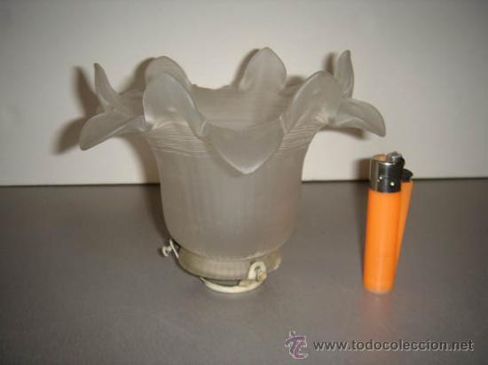 ANTIGUA TULIPA DE CRISTAL GLASEADO PARA UNA LÁMPARA. (Antigüedades - Iluminación - Otros)