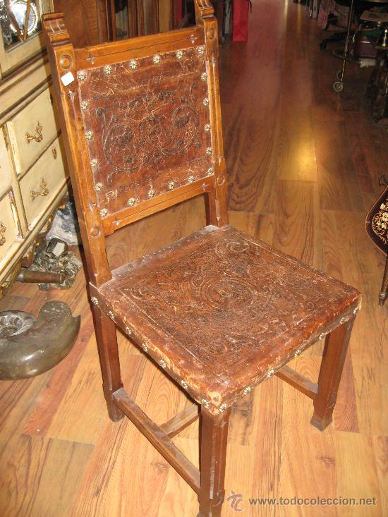 Pareja sillas de cuero antiguas comprar sillas antiguas - Sillas antiguas de madera ...
