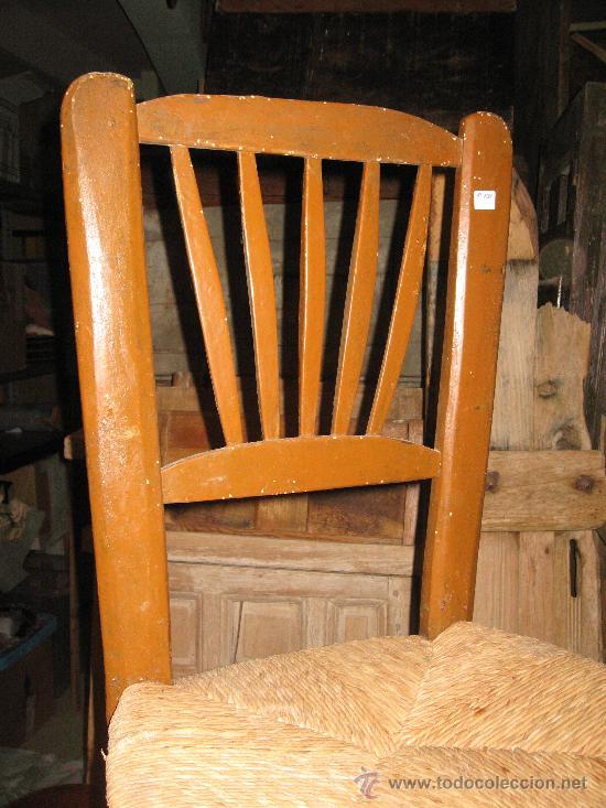 Antigüedades: Silla de madera y enea - Foto 2 - 34643375