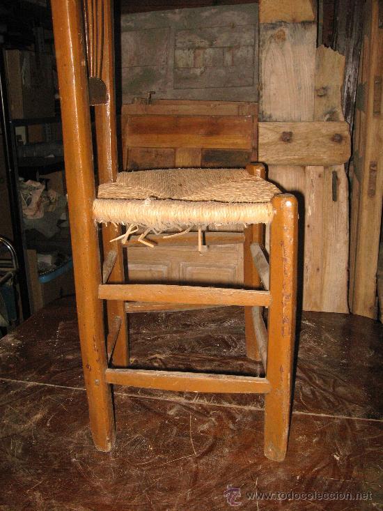 Antigüedades: Silla de madera y enea - Foto 4 - 34643375