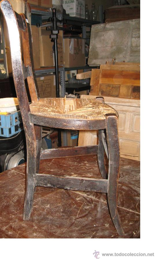 Antigüedades: Silla de Madera y Enea - Foto 2 - 34643521