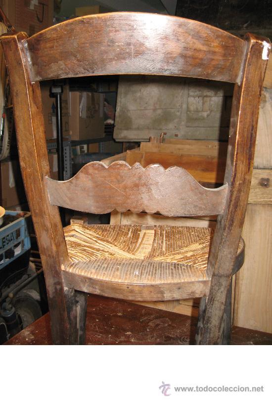 Antigüedades: Silla de Madera y Enea - Foto 3 - 34643521