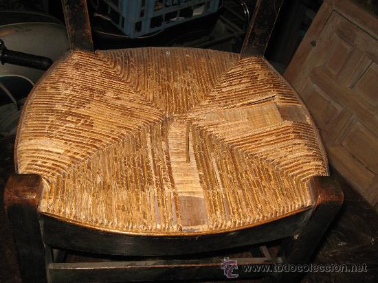 Antigüedades: Silla de Madera y Enea - Foto 4 - 34643521
