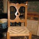 Antigüedades: SILLA DE MADERA Y ASIENTO DE CUERDA. Lote 34643980