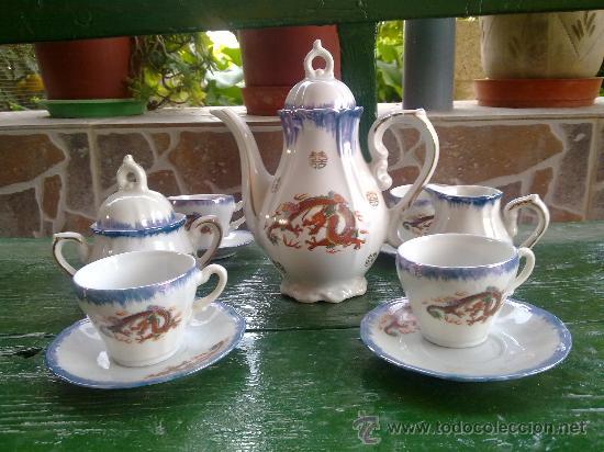 ANTIGUO JUEGO DE CAFE JAPONES, MARCA EIHO. PRECIOSO (Antigüedades - Porcelana y Cerámica - Japón)