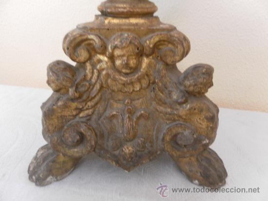 Antigüedades: Candelabro barroco de madera. Siglo XVII / XVIII. Madera estucada y policromada. - Foto 6 - 34685603