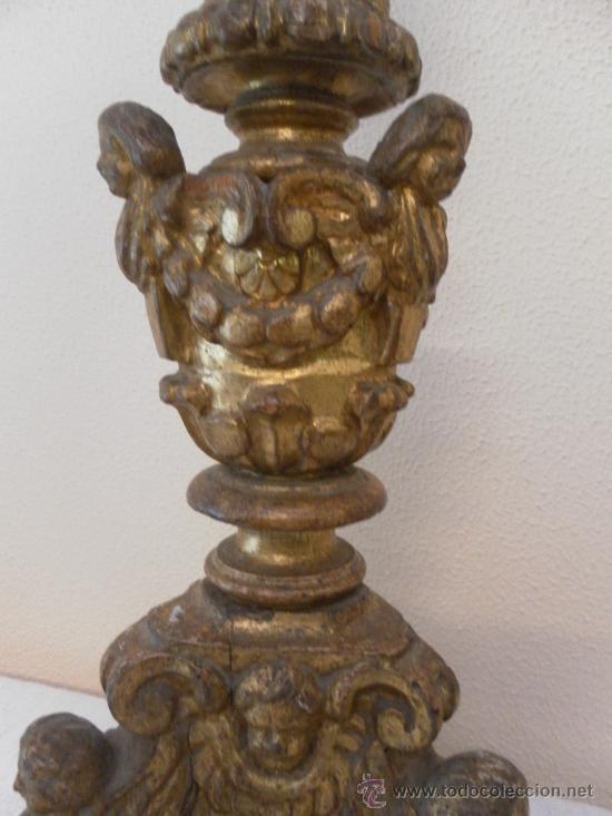 Antigüedades: Candelabro barroco de madera. Siglo XVII / XVIII. Madera estucada y policromada. - Foto 10 - 34685603