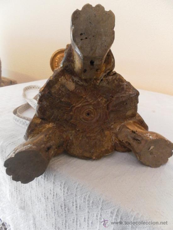 Antigüedades: Candelabro barroco de madera. Siglo XVII / XVIII. Madera estucada y policromada. - Foto 20 - 34685603