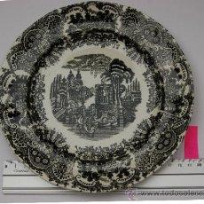 Antigüedades: BONITO PLATO LLANO PICKMAN (LA CARTUJA). 21CM. TONOS NEGROS. EN . . Lote 34686353