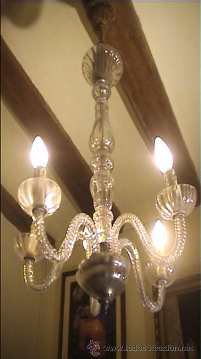 LAMPARA TOTALMENTE RESTAURADA CRISTAL LAGRIMAS (Antigüedades - Iluminación - Lámparas Antiguas)
