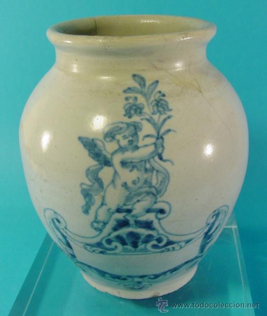PEQUEÑA ORZA EN CERÁMICA DECORADA. TALAVERA. SIGLO XVIII. (Antigüedades - Porcelanas y Cerámicas - Talavera)