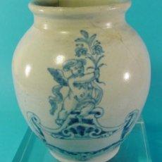Antigüedades: PEQUEÑA ORZA EN CERÁMICA DECORADA. TALAVERA. SIGLO XVIII.. Lote 34766115