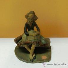 Antiguidades: MALLORCA. FIGURA DE TERRACOTA COLOREADA. JOVEN VESTIDA DE PAYESA. FIRMADO C. OLIVER. AÑOS 50. Lote 34766407