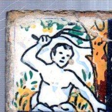 Antigüedades: AZULEJO CERÁMICA SEVILLANA S.XIX, 7 POR 7CM, SEVILLA. Lote 34773502