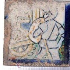 Antigüedades: AZULEJO CERÁMICA SEVILLANA S.XIX, 7 POR 7CM, SEVILLA. Lote 34773514