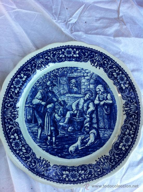 PLATO MUY GRANDE PARA DECORACION SELLADO DELFT (Antigüedades - Porcelana y Cerámica - Holandesa - Delft)