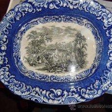 Antigüedades: SARGADELOS.ESPLENDIDA FUENTE SALSERA BICOLOR CON SELLO. Lote 34821495