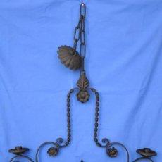 Antigüedades: LAMPARA DE HIERRO CON DOS PORTA-VELAS O FOCOS.. Lote 34853715
