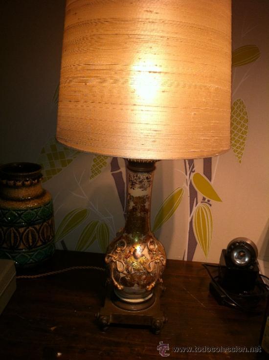 Antigüedades: lampara de porcelana satsuma japonesa principios siglo XX - Foto 9 - 34524378