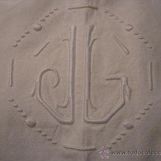 Antigüedades: ANTIGUA SÁBANA DE ALGODÓN CON INICIALES J.L. . Lote 34860076