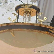 Oggetti Antichi: LAMPARA DE TECHO EN METAL Y CRISTAL. Lote 34894754