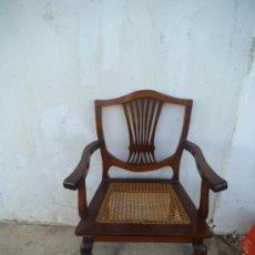 Antigüedades: SILLON DE CAOBA Y ENEA. Lote 34897750