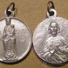 Antigüedades: MEDALLA NUESTRA SEÑORA DEL CLAUSTRO, SOLSONA Y CORAZÓN DE JESUS, MIDE 2 CM. Lote 34939877