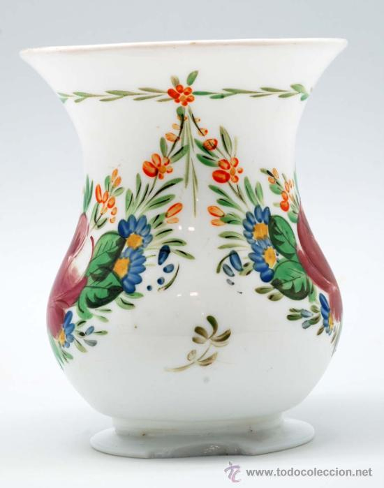 Antigüedades: Jarra en opalina de la granja con decoración floral esmaltada S XIX - Foto 2 - 34923591