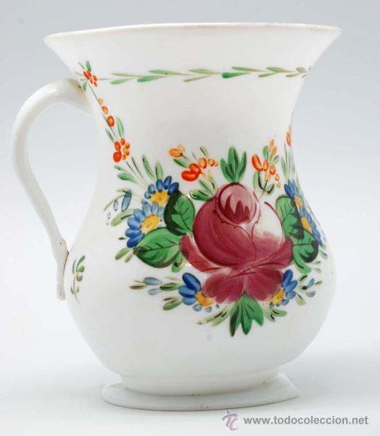 Antigüedades: Jarra en opalina de la granja con decoración floral esmaltada S XIX - Foto 3 - 34923591